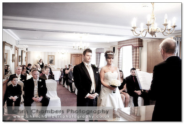 During the wedding ceremony at Wentbridge House